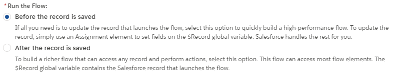 flow types - record-triggered - when